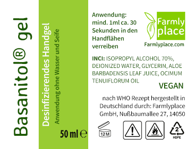 label Basanitol® gel by Farmlyplace